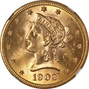 1902-s Liberty Gold 10 Ngc Ms64 Superb Eye Appeal Strong Strike