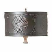 Table Lamp Drum Shade With Chisel In Kettle Black Lampshade Spider Vintage Style