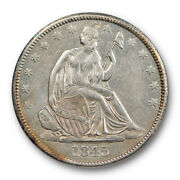 1845 50c Seated Liberty Half Dollar Anacs Au 58 About Uncirculated Old Holder...