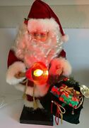 Vintage Animated 24 Tall Telco Motionette Santa Claus With Lighted Bell