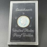 1972 S 1 Eisenhower Brown Ike 40 Proof Silver Dollar Coin Original Case Toned