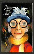 Woman Glasses Hat Feathers Doing Her Best Comic Novelty Postcard C. 1910