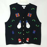 Croft And Barrow Women's Ugly Christmas X-mas Party Vest Sweater Button Front 2x