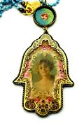 Michal Negrin Large Victorian Style Hamsa Pendant Resin And Crystals New