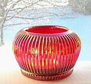 Fenton Ruby Cranberry Carnival Glass Ribbed Glass Bowl Votive Candle Holder