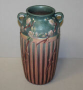 Antique Roseville Cherry Blossom Tall Double Handled Vase Andndash Pink And Blue Colors Andndash