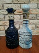 Lot Of 2 Vintage Jim Beam Bonded Decanters Blue And Gray Blue Swirls
