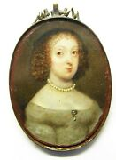 17th Century Baroque Portrait Miniature Of A Lady Oils On Copper Framed C. 1660