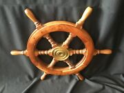 24andrdquo Vintage Or Antique Wooden Boat Shipand039s Wheel Nautical 6 Spoke Salvage