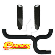 7 Slant Black Double Stack Stainless Pypes Exhaust Kit Chevy 2500 3500 Diesel
