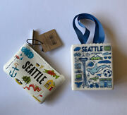 Starbucks Seattle Coin Purse Card Pouch Key Chain And Ceramic Tote Combo2019 Nwt