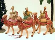 Fontanini Depose Italy 5 1992 3 Kings On Camels Nativity Village Figures 71514