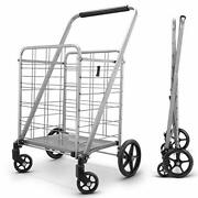 Newly Released Grocery Utility Flat Folding Shopping Cart With 360° Rolling Sw