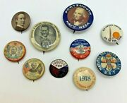 10 Genuine Late 1800s/early 1900s Buttons/pinbacks Political And Others
