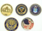 5a Set Of 5 United States Air Force Challenge Coins Atc Pilots Airman Tech Sgt