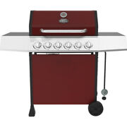 Gas Grill 6 Burner Propane Red Outdoor Cooking Durable Stainless Steel Lid Bbq