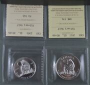 Two Pure Silver Wolf Coins - 2006 1/2 Oz And 2011 1 Oz Ms-66 Iccs Graded
