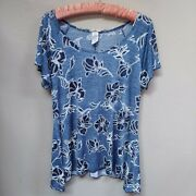 Brittany Black Women Scoop Neck Blue White Floral Embroidered Top Stretchy Large