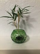 Small Green Cut Glass Bowl Cut To Clear Sold With/without Used Ikebana Frog