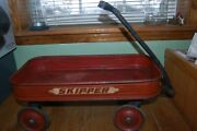 Vintage Childand039s Small Toy Red Wagon Skipper 21 By 10.5 / Wheels 4.5 Diameter