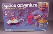 1970's Space Adventure Toy Playset With Plastic Figures, Mib Factory Sealed Misb