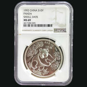 1992 China Panda 1oz Silver Coin S10y Small Date Ngc Ms69