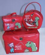 Vintage 1961 Beany And Cecil Red Vinyl 3 Pc Set Clampett