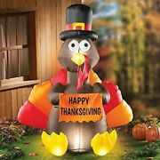 Gobble Turkey Inflatable Outdoor Yard Sign Happy Thanksgiving Decor