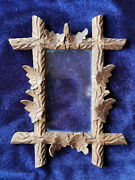 Antique Hand Carved Black Forrest Wooden Picture Frame With Oak Leaves And Acorns