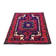 3and0394x5and039 Blue Vintage Farsian Amadan Animal Figurines Wool Handknotted Rug R66337