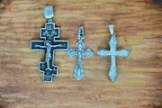 Antique Imperial Russian Sterling Silver 925 Christian Cross Stamped 3pcs Good
