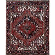 7'1x8'5red Old Farsian Heris Sheared Low Organic Wool Handknotted Rug R60403