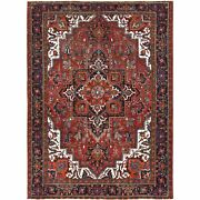 8and0393x11and0393 Vintage Worn Down Red Farsian Heris Hand Knotted Pure Wool Rug R60496