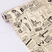 Vintage Newspape Peel And Stick Wallpaper Self-adhesive Contact Film Paper 10m