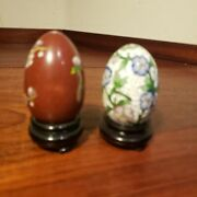 Pair Of Vintage Chinese Cloisonne Eggs, With Stands