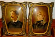 Pair Of Antique Wood And Convex Glass Frames W/ Husband And Wife Pictures