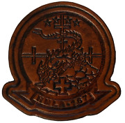 4.25 Usmc Marine Corps Hmla-167 Warriors Helicopter Antique Look Leather Patch