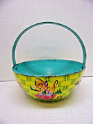 1930s Chein And Co. Large Tin Litho Nursery Rhyme Easter Basket