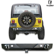 Rear Bumper W/ Led Lights+2and039and039receiver+d-rings Fits 1987-2006 Jeep Wrangler Tj/yj