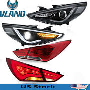 Audi Style Led Headlights+red Tail Lights For Hyundai Sonata 2011-2014 Projector