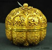 Chinese Dynasty Silver Gilt Flower Lotus Vessel Box Jewelry Box Storage Boxes