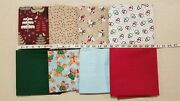 Lot Of 8 Yards Christmas Trees Snowmen Gingerbread Penguins Snow Cotton Fabric