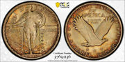 1917 S 25c Type 2 Standing Liberty Quarter Pcgs Ms 65 Uncirculated Toned Beau...