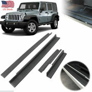 4pcs Jk Door Sill Guard Protector Scuff Plate Entry For 2007-2017 Jeep Wrangler