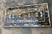 Black Marble Dining Table Top Animals Arts Marquetry Inlaid Kitchen Decor H3674