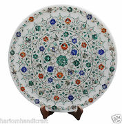15 Marble Serving Plate Inlaid Marquetry Work And Free Room Decor Candle Holder