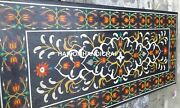 5and039x3and039 Black Marble Dining Table Top Marquetry Art Floral Inlay Garden Decor E339