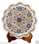 12 White Marble Serving Dish Plate Intricate Floral Inlay Rare Design Arts Gift