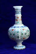 Antique Marble Flower Vase Multi Precious Mosaic Inlaid Collectible Gifts H1947