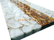 4and039x2and039 Salt Agate And Petrified Wood Designer Dining Table Top Living Decors A093